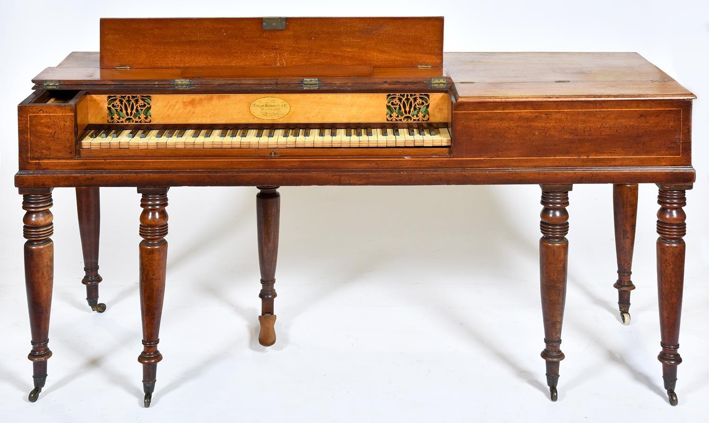 A mahogany square piano, Muzio Clementi & Co, 26 Cheapside London, No 92, c1880, with fretted