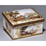 An enamel box, late 19th century, the sides and slightly domed lid painted in polychrome with