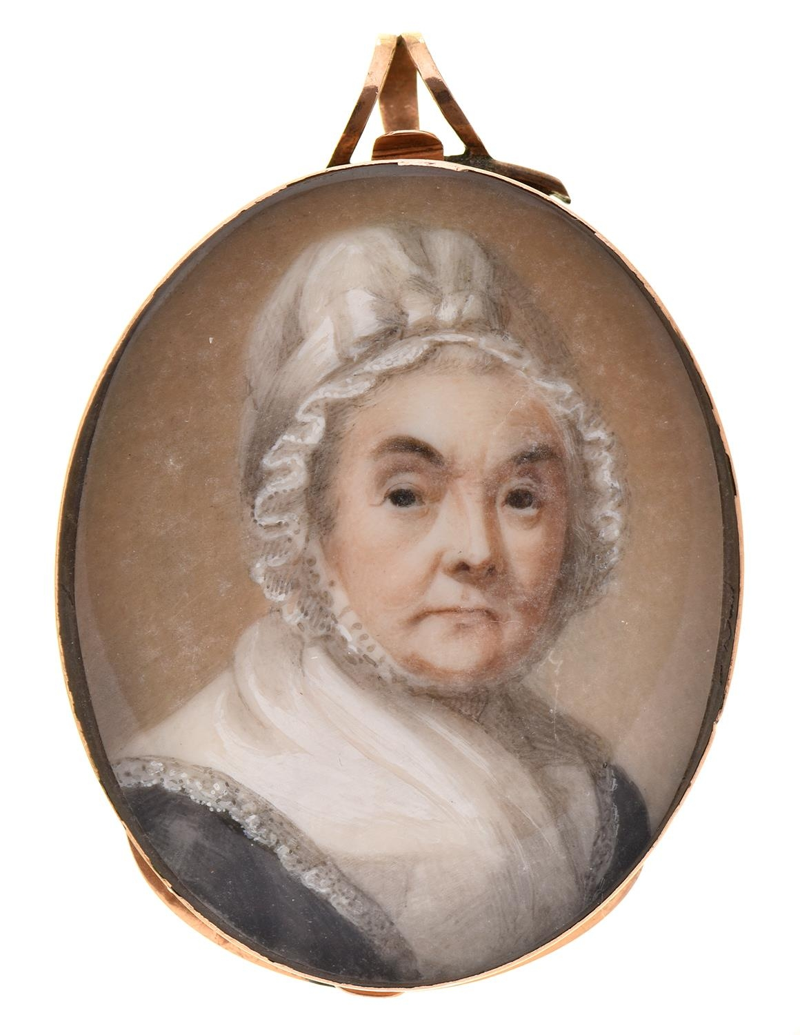 Abraham Daniel(c1760-1803) - Portrait Miniature of a Lady in a white mob cap tied with a ribbon,
