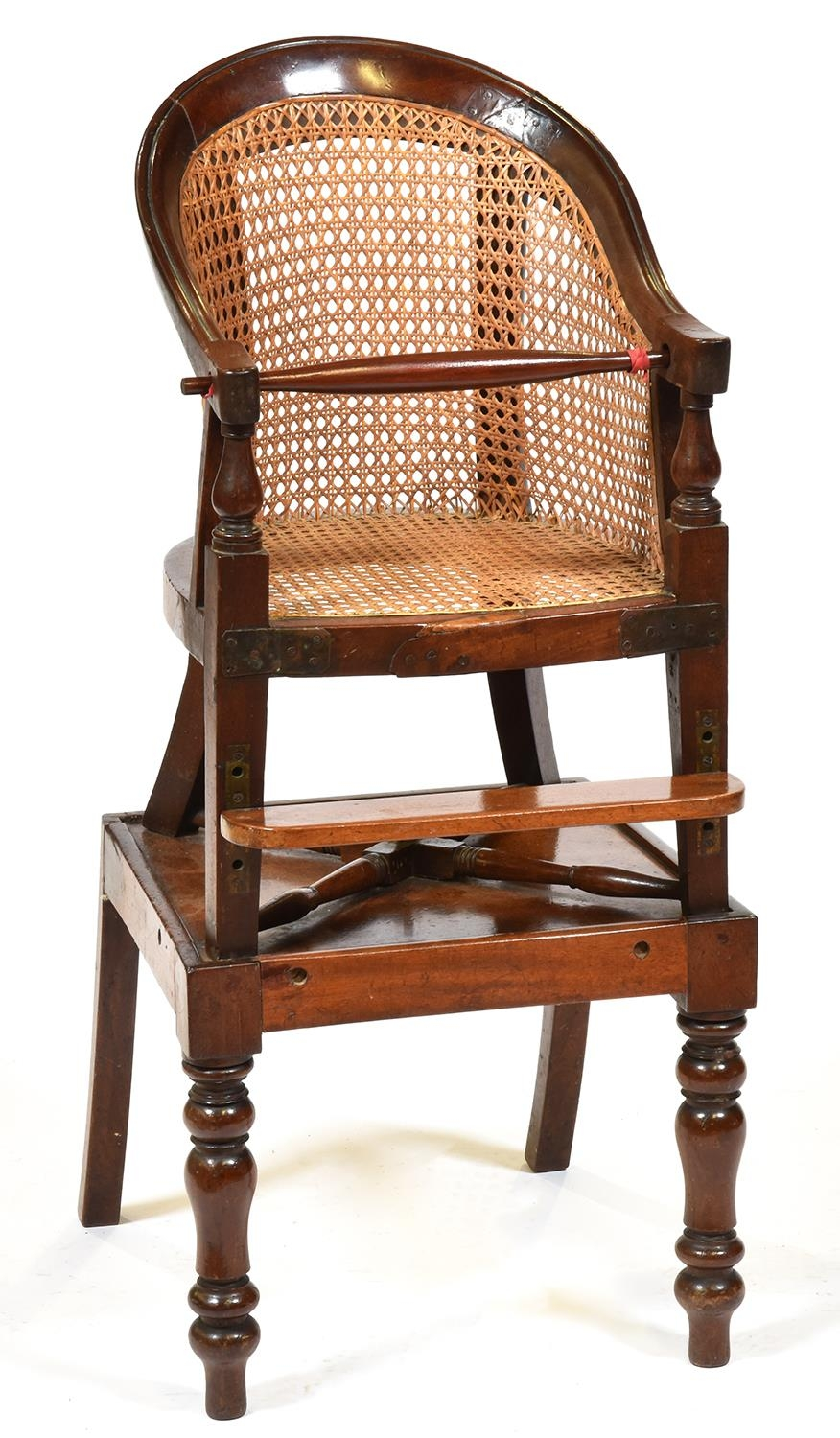 A Victorian mahogany and caned child's high chair and stand, mid 19th c Elements replaced; restored