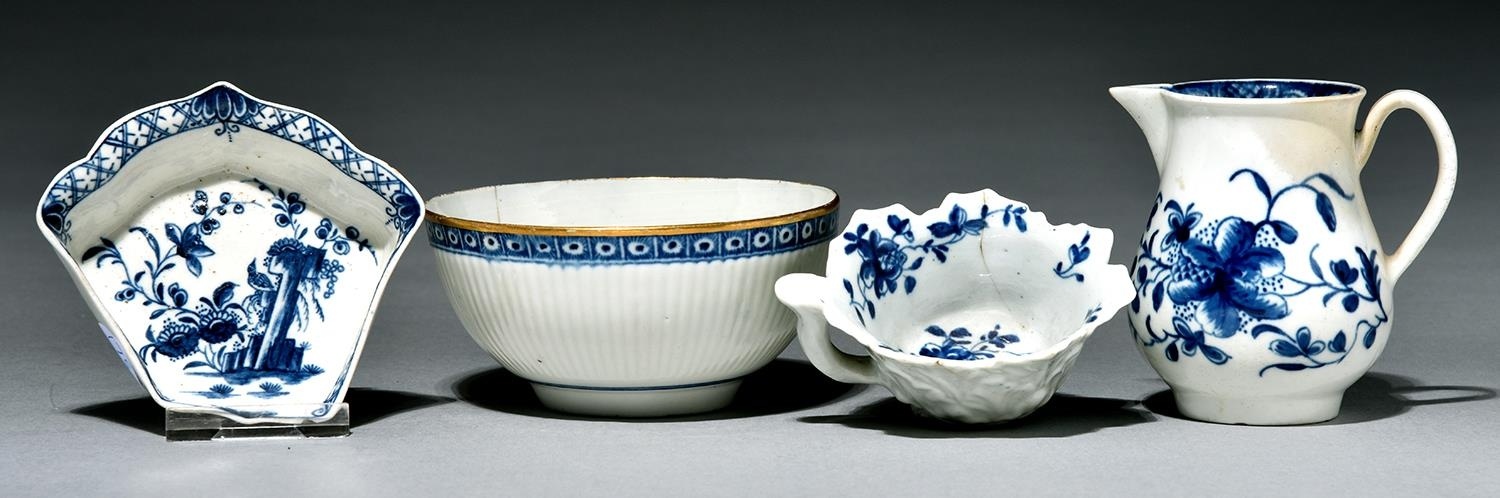 A Worcester sparrow beak jug, butter boat, hors d'oeuvres tray and bowl, c1760 and c1775, painted