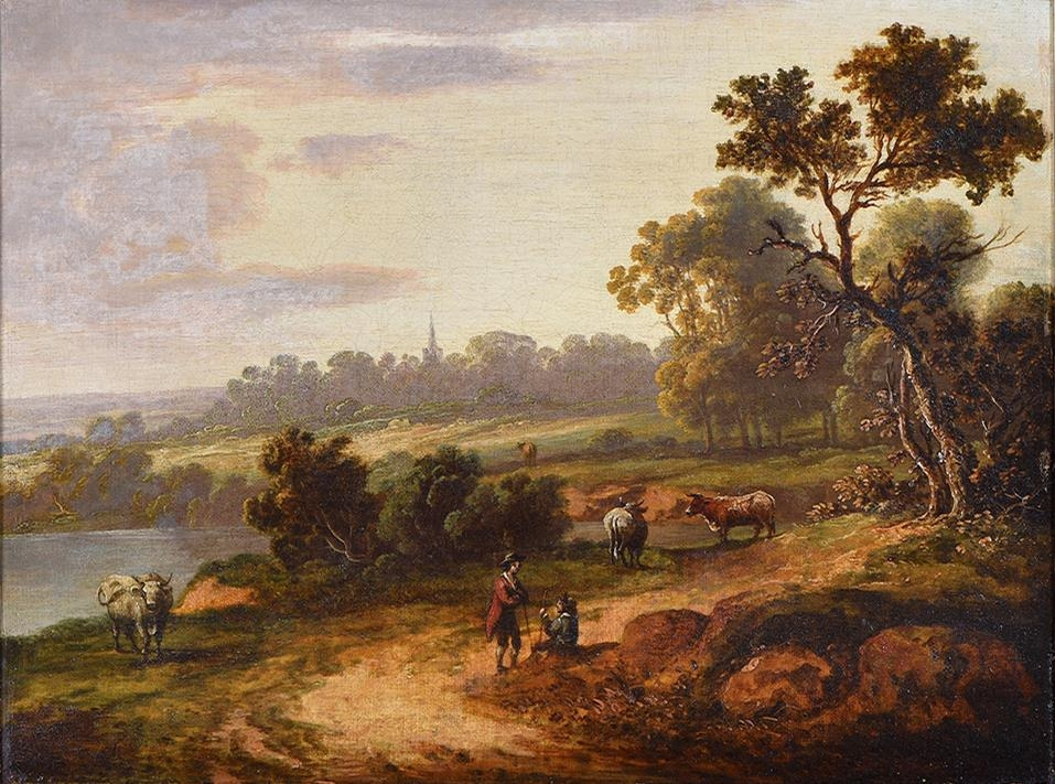 English School, early 19th century ' Wooded Landscape with Figures and Livestock; A Woman and - Image 2 of 6