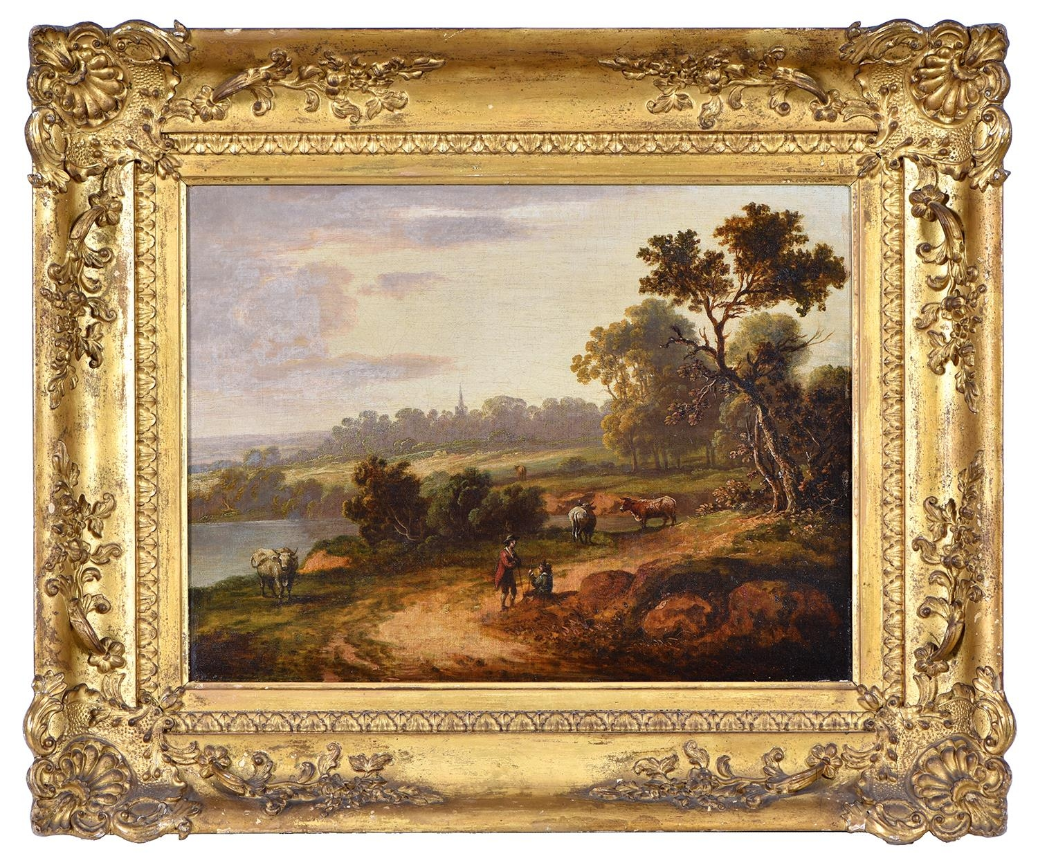 English School, early 19th century ' Wooded Landscape with Figures and Livestock; A Woman and - Image 4 of 6