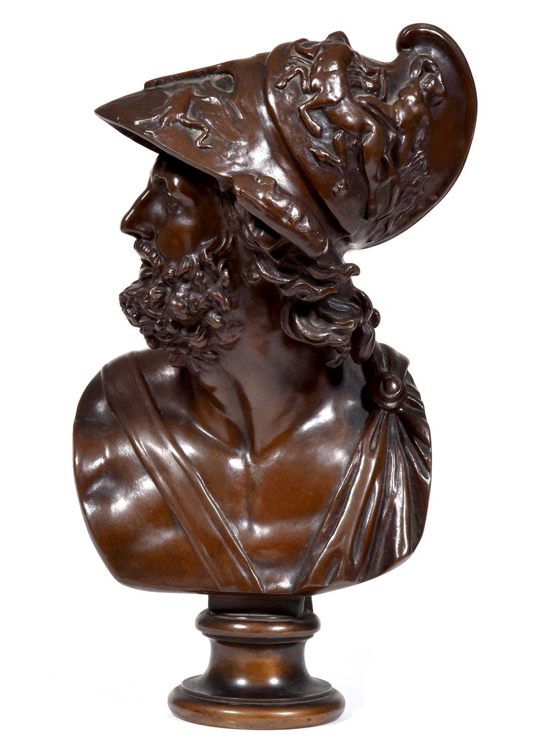 A bronze bust of Ajax after the Antique, 20th c, cast from a 19th c model by Barbedienne, integral