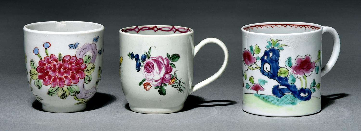 A Bow polychrome coffee cup, a Liverpool coffee cup, Richard Chaffers and a Liverpool coffee can,