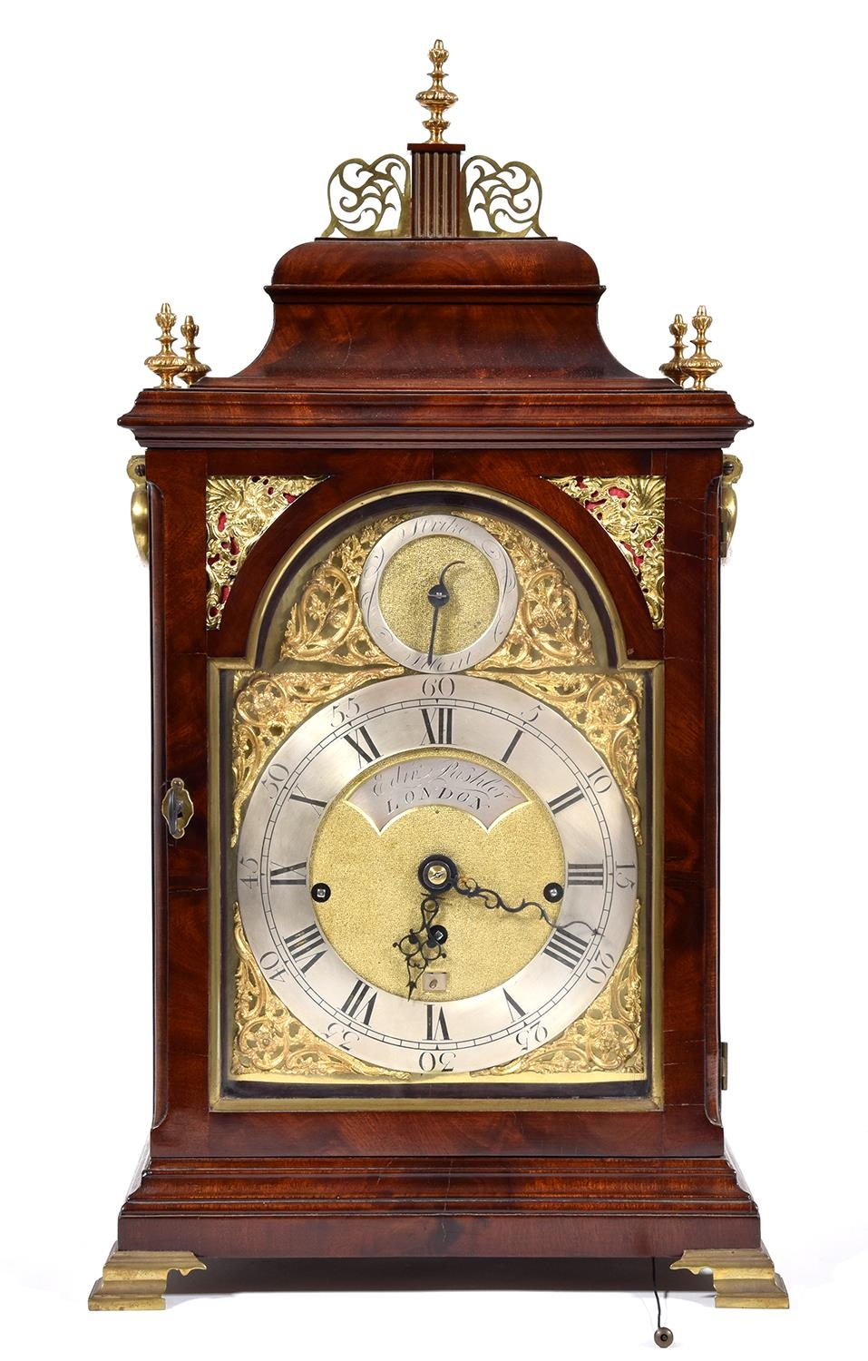 An English mahogany bracket clock, Edward Pashler, London, c1775,the breakarched brass dial with