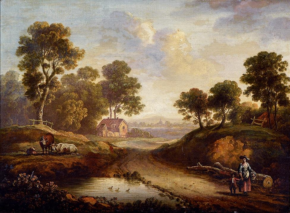 English School, early 19th century ' Wooded Landscape with Figures and Livestock; A Woman and