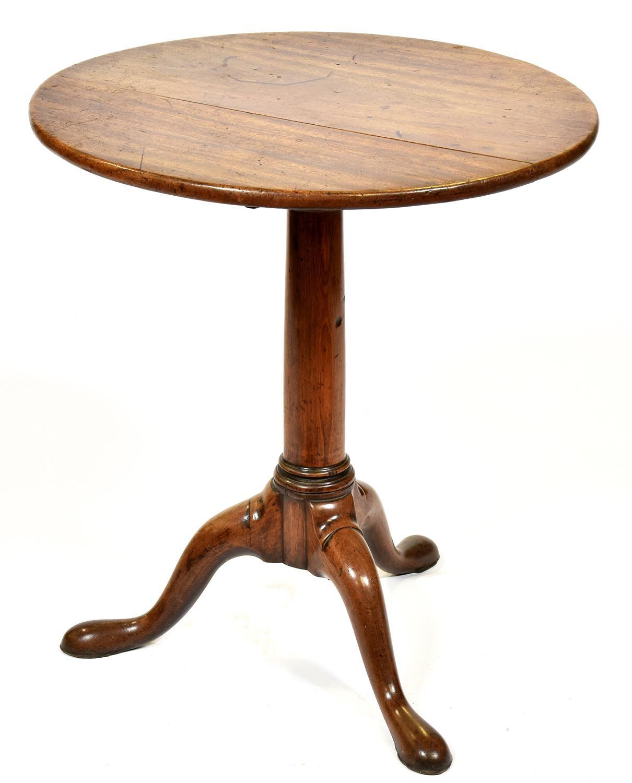 A GeorgeII mahogany tripod table, mid 18th c, with turned pillar, 71cm h x 64cm diam Provenance:
