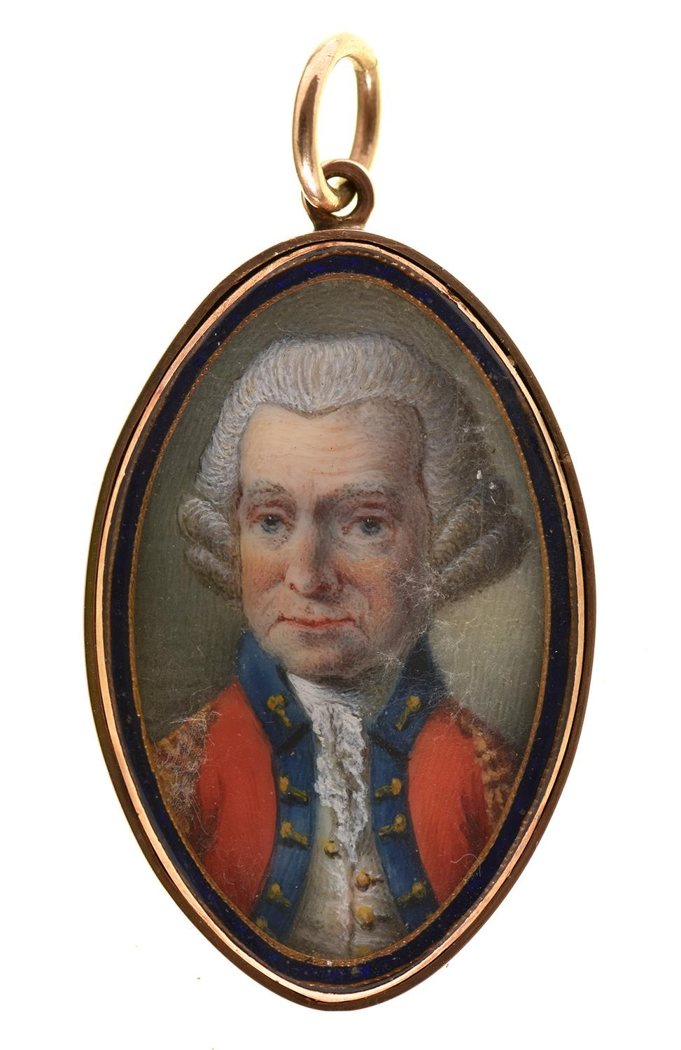 EnglishSchool, 18th c - Portrait Miniature of an Officer, in uniform and powdered wig, navette