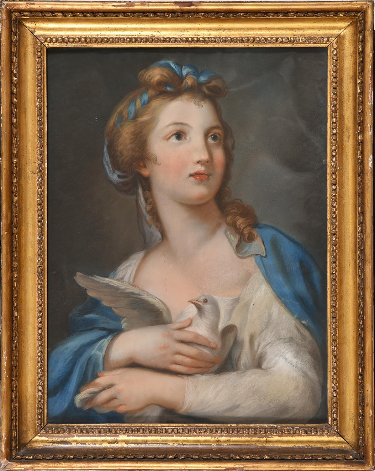 Mary Southwell (1766-1789) – A Young Woman clasping a Dove to her Bossom,pastel, 60 x 45cm - Image 2 of 3