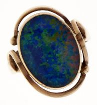 A synthetic opal doublet ring, in gold, marked 9ct, 5.3g, size N Good condition
