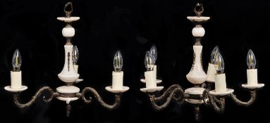 A pair of giltmetal and marble three light chandeliers, 20th c, 35cm h Good condition