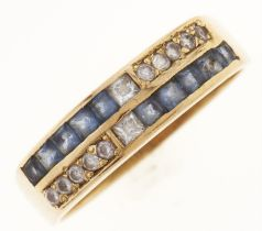 A tanzanite and white stone ring, in 18ct gold, 4.8g, size Q Good condition
