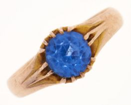 A blue paste ring, in gold, 2.76g, size N Light wear