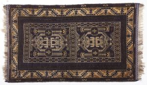 A Persian style dark blue ground rug, 89 x 149cm Good condition