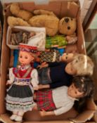 A pale gold mohair teddy bear, c1940 and asmall collection of vinyl costume dolls of late date