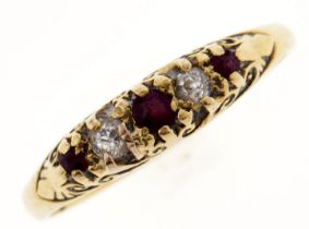 A ruby and diamond ring, in 18ct gold, 2.1g, size N Light wear