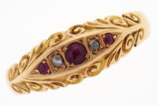 A ruby and diamond ring, in 18ct gold, Birmingham 1910, 2.7g, size Q Good condition