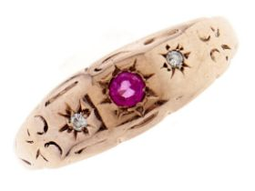 A ruby and diamond ring, c1900, in 9ct gold, gipsy set, Chester, other marks rubbed, 1.2g, size M