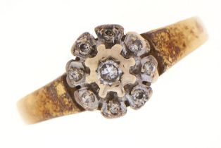 A diamond ring, in 18ct gold, 3.2g, size J Wear consistent with age
