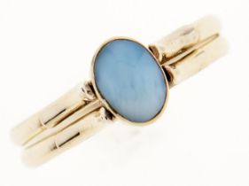An amazonite and amber reversible ring, in gold, marked 14K, 2.3g, size P Good condition