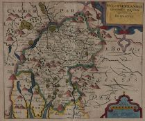 Christopher Saxton and J Kip - Westmoreland, double page engraved map, 1609 or later, with