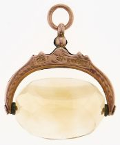 A 9ct gold and rock crystal swivel fob seal, Chester 1912, 7.3g Good condition