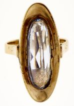 A stylish 1970s synthetic spinel ring, in gold, 6.2g, size M Light wear consistent with age
