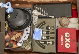 Four Action Man dolls, other toys, a silver toast rack, Victorian glass inkwell with brass mount,