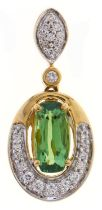 A synthetic spinel and diamond pendant, with diamond set loop, in gold, 2.2g, Good condition