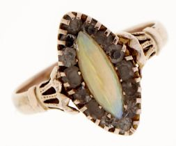 An opal and paste navette cluster ring, in 9ct gold, Chester 1919, 2.6g, size O Opal retaining