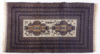 A Persian style blue ground rug, 86 x 154cm Good condition