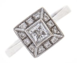 A white stone square cluster ring, in white gold, marked 585, 3.3g, size P Good condition