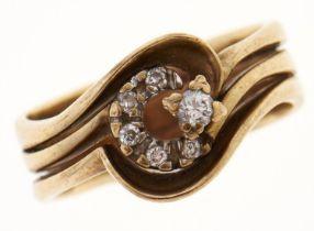 A diamond triple hoop ring, in gold, marked 9ct, 4g, size K Light wear