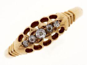 An Edwardian five stone diamond ring, in 18ct gold, Birmingham 1901, 2.3g, size N Light wear
