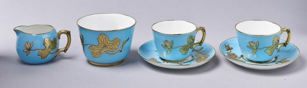 An aesthetic Minton tea set for two, 1875, moulded in shallow relief with waterlilies and bamboo