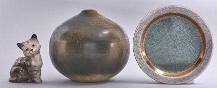 Studio Pottery. A globular glazed stoneware vase, 11.5cm h, incised ASG, a Royal Copenhagen dish and
