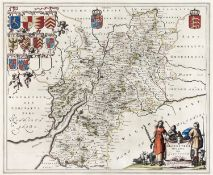 Blaeu - Gloucestershire; Glamorganshire,two, double page engraved maps, 1645-46, hand coloured,