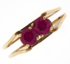 A synthetic ruby ring, in gold, marked 585, 3g, size N Good condition