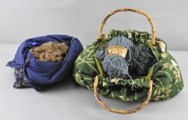 A collection of wool and sewing bags,