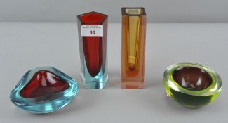 A collection of Murano Sommerso cased glass, to include two finger vases and two bowls,