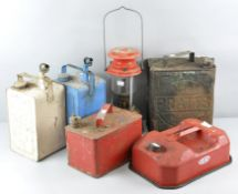A collection of five early/mid 20th century vintage oil cans, to include Pratts, Valor and others,