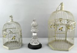 Two decorative bird cages,