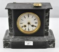 A late 19th century slate and marble mantle clock, indistinctly marked Snowden,