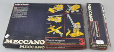 Two vintage boxed Meccano sets to include no 3 and the conversion set.