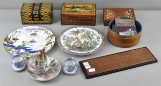 A collection of assorted wares including two Russian boxes, two other boxes, costume jewellery,