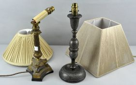 Two 20th century antique style table lamps with shades,