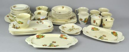 An extensive Staffordshire part tea set having painted floral decoration.