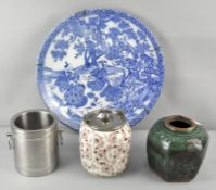 A Chinese blue and white charger and other items