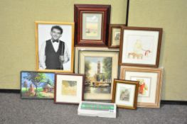 A collection of assorted original paintings and prints to include an African village scene.